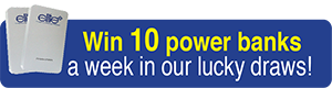 Win 10 power banks a week in our lucky draws